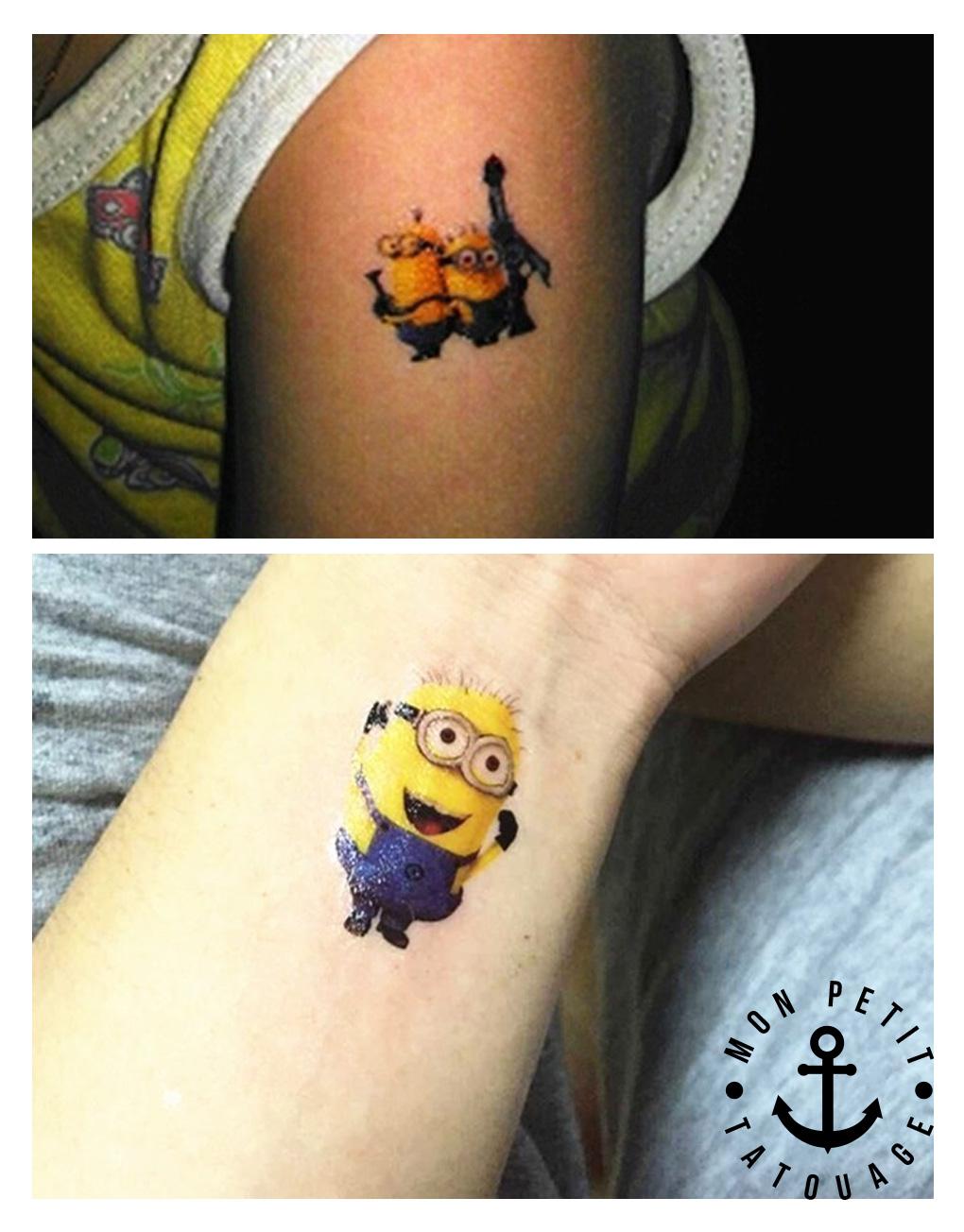 tatouages minions enfants plaque lot 3 mon petit tatouage temporaire. Black Bedroom Furniture Sets. Home Design Ideas