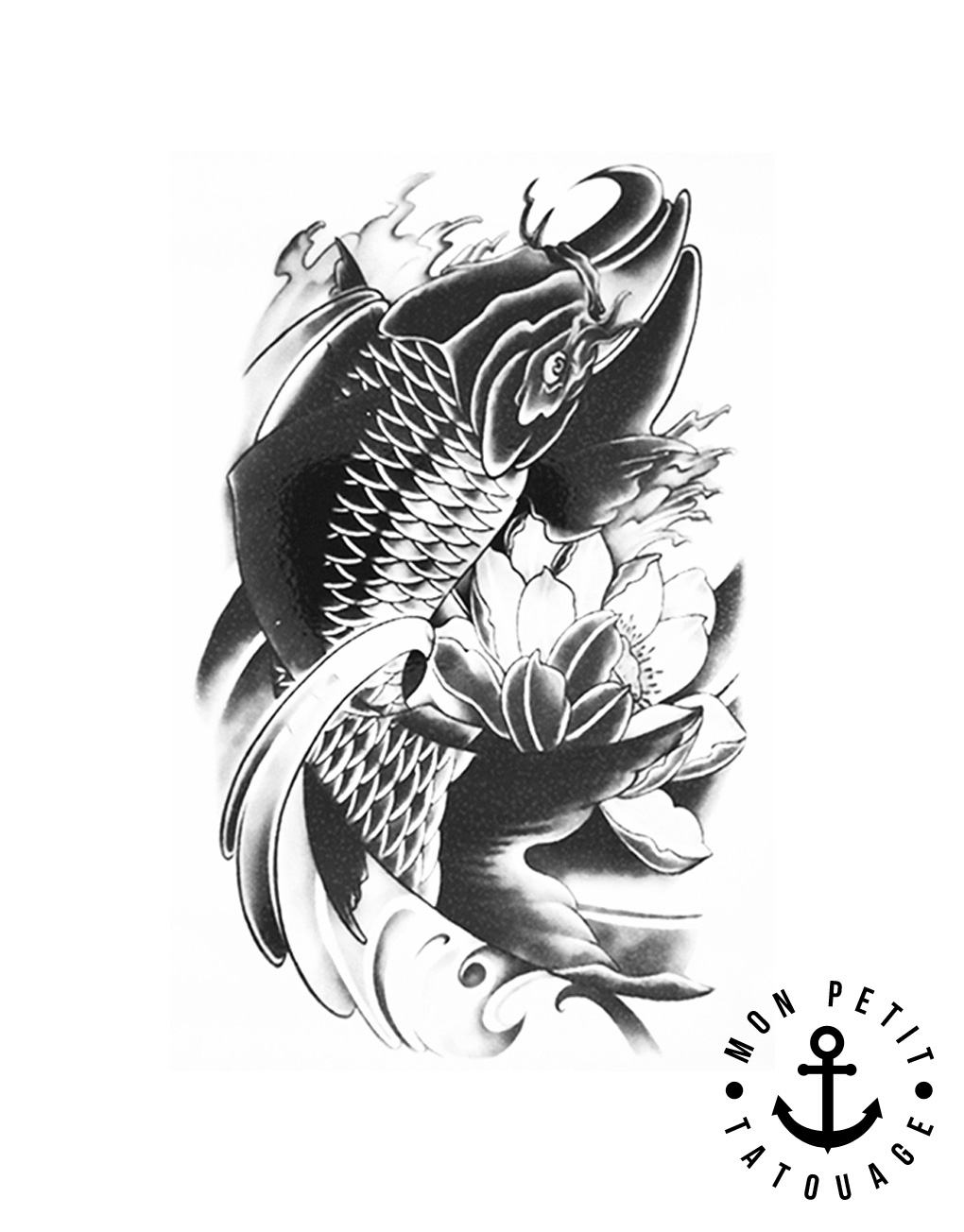 Top tatouage temporaire poisson images for pinterest tattoos for Carpe koi b