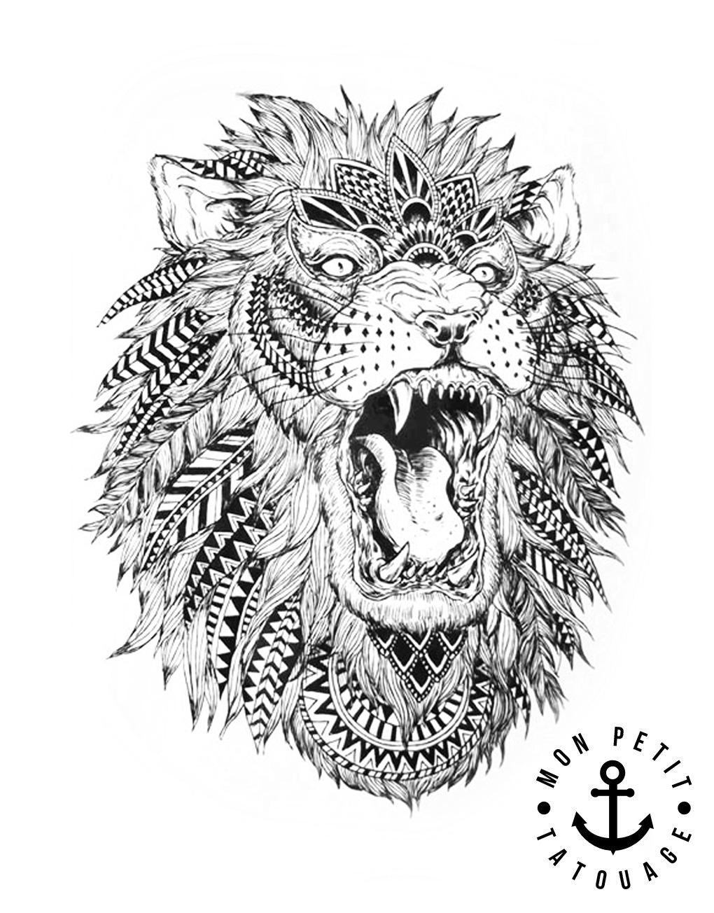 Tatouage t te de lion style boh me chic mon petit tatouage temporaire - Tete de lion tatouage ...