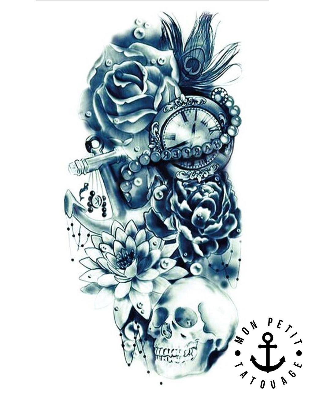 tatouage t te de mort ancre horloge rose composition. Black Bedroom Furniture Sets. Home Design Ideas