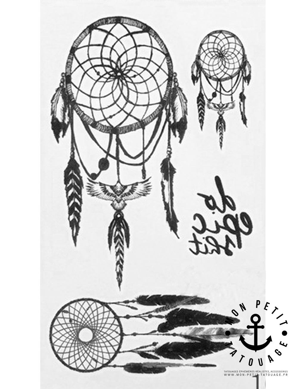 petits tatouages attrape r ves dreamcatcher mon petit tatouage temporaire. Black Bedroom Furniture Sets. Home Design Ideas