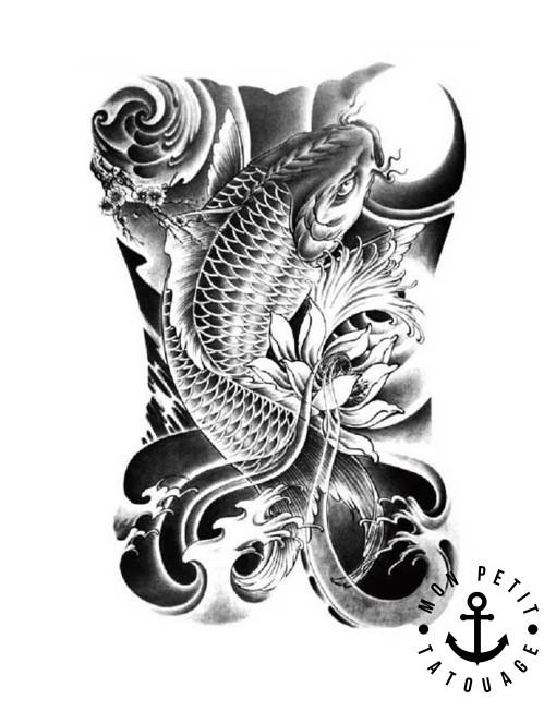 Tatouage temporaire carpe koi poisson mon petit tatouage for Bebe carpe koi noir