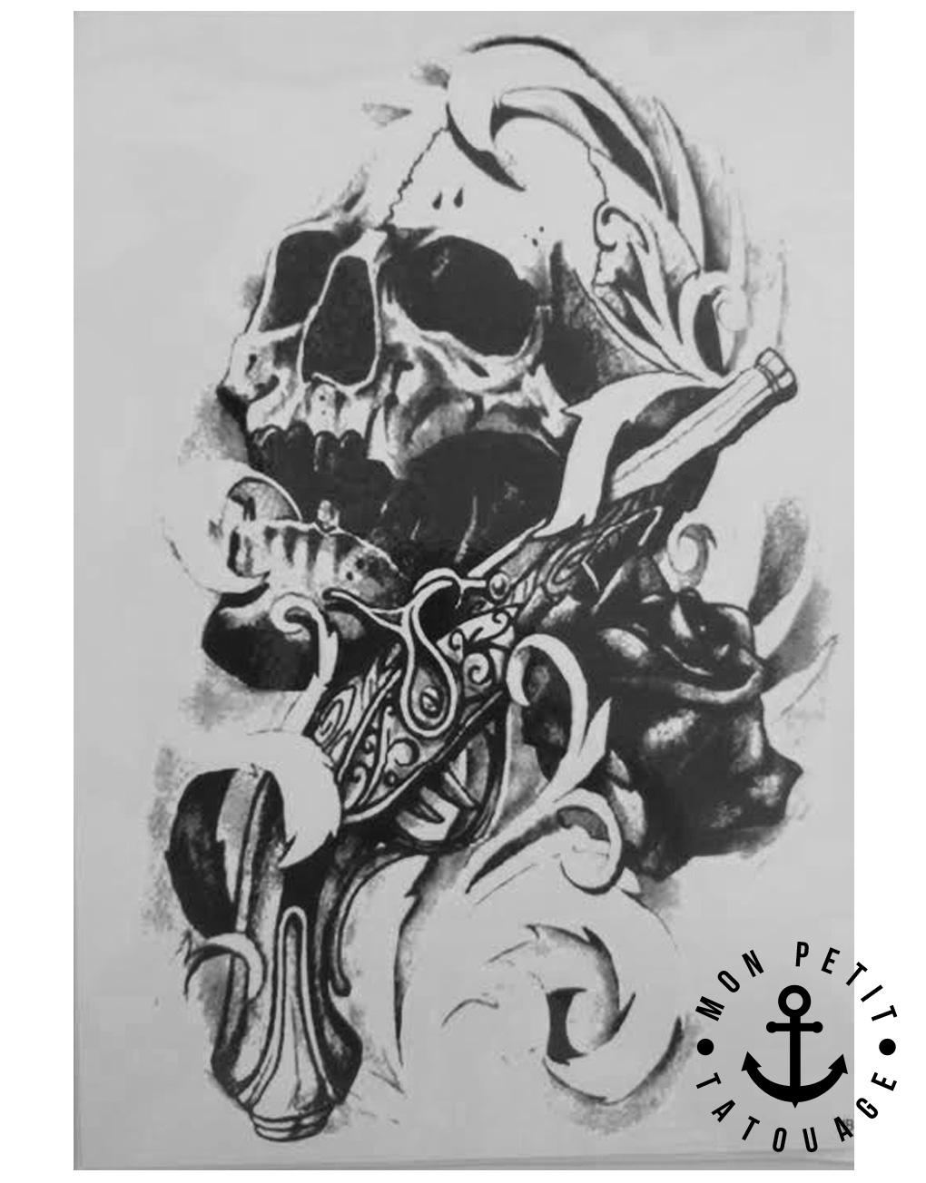 Tatouage temporaire t te de mort motifs abstraits mon - Tatouage tete de mort simple ...