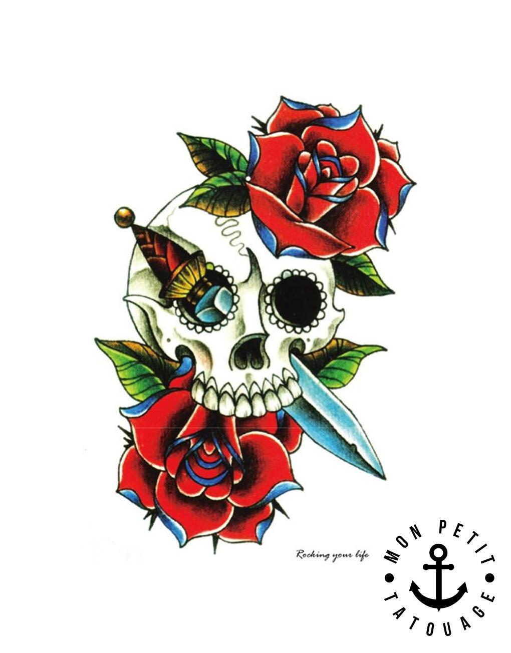 tatouage temporaire t te de mort roses couleur mon. Black Bedroom Furniture Sets. Home Design Ideas