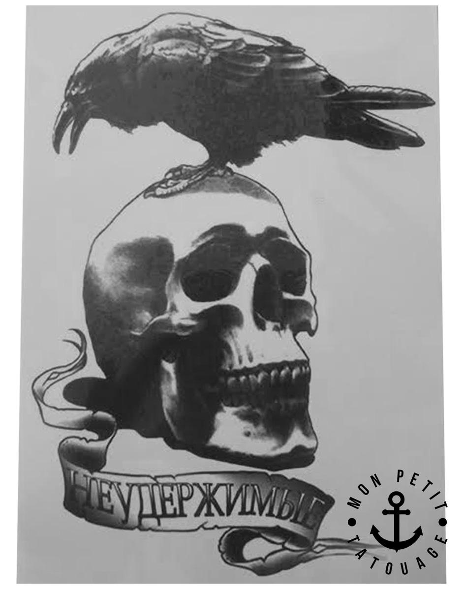 tatouage temporaire t te de mort et corbeau mon petit tatouage temporaire. Black Bedroom Furniture Sets. Home Design Ideas
