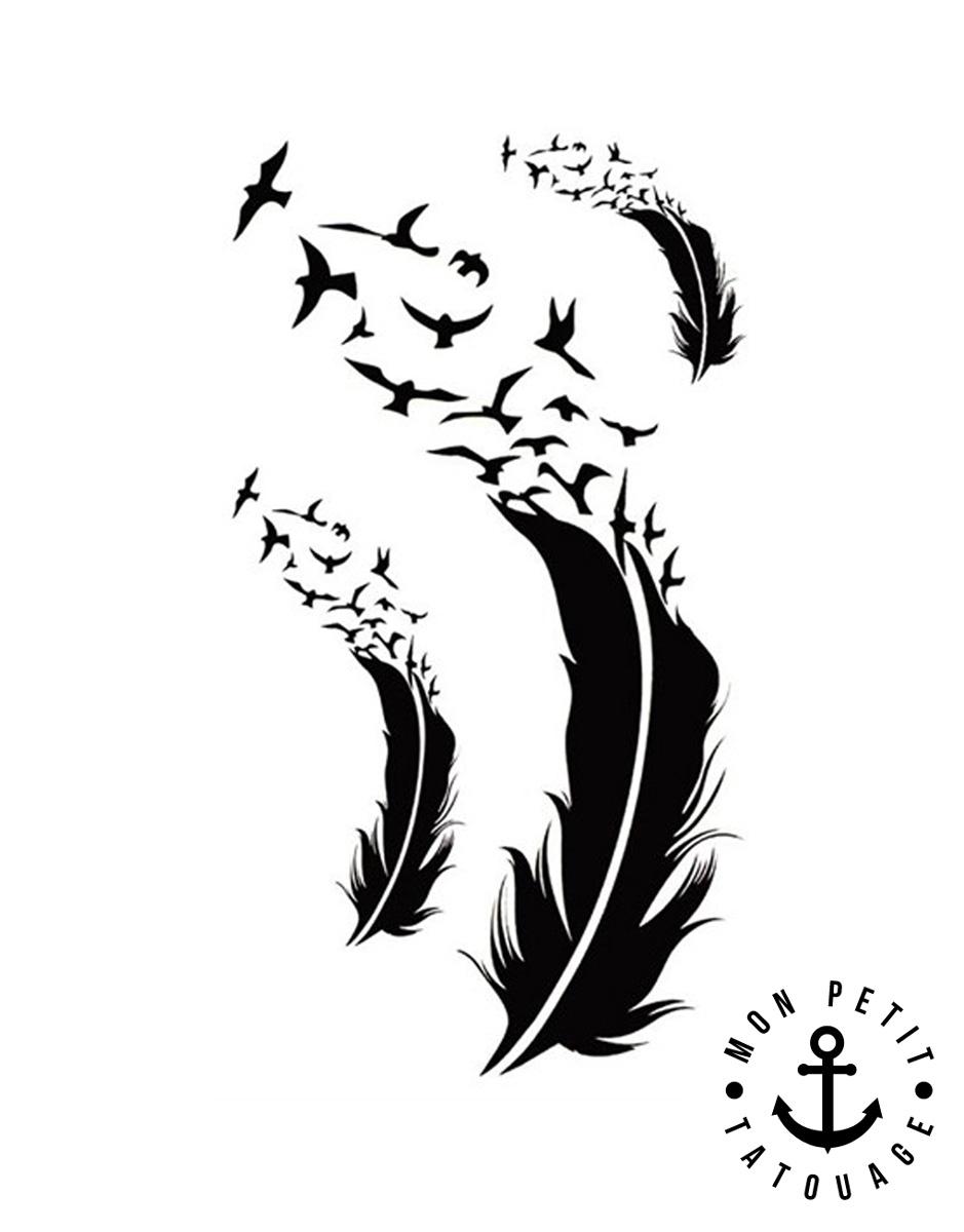 Petits tatouages plumes vol d 39 oiseaux mon petit - Dessin oiseau en vol ...