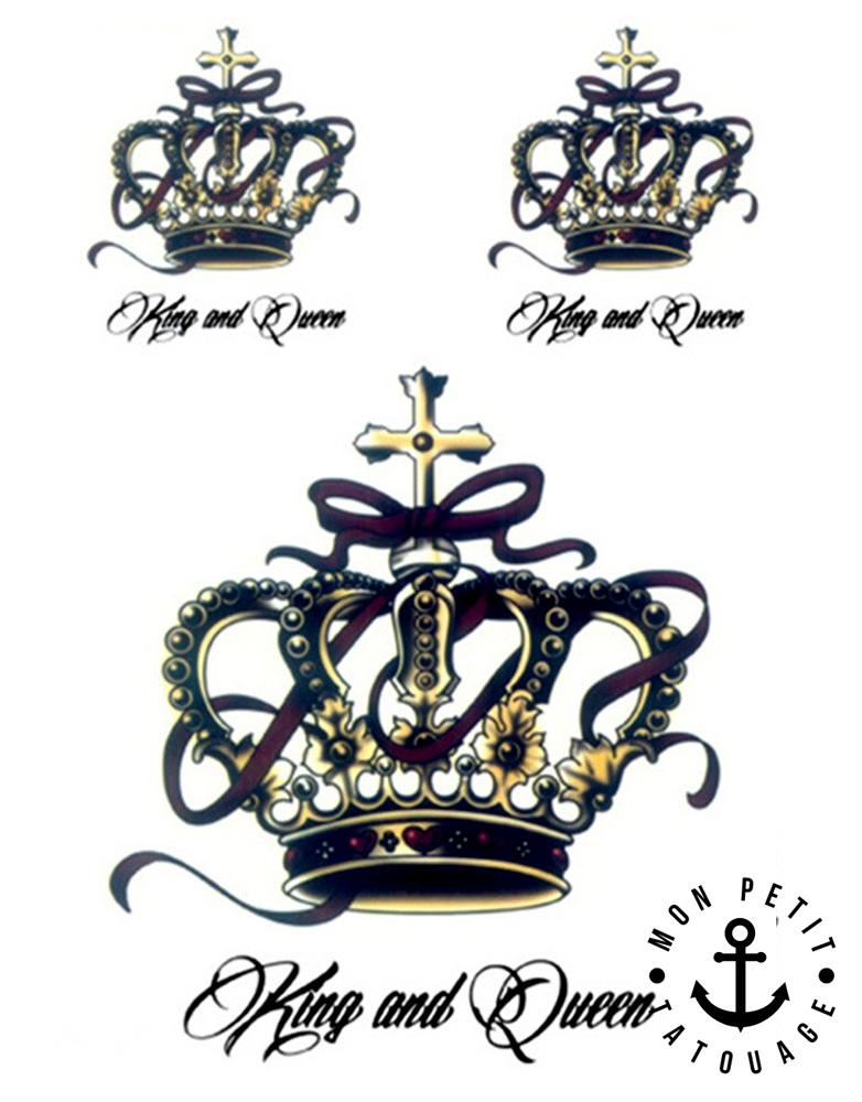 tatouage temporaire roi reine couronne croix | mon petit tatouage