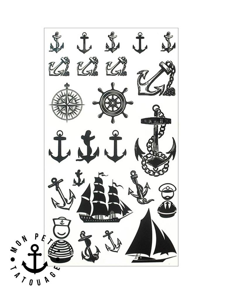 Tatouage Ancre Marine Temporaire Ephemere Bateau Rose Des Vents