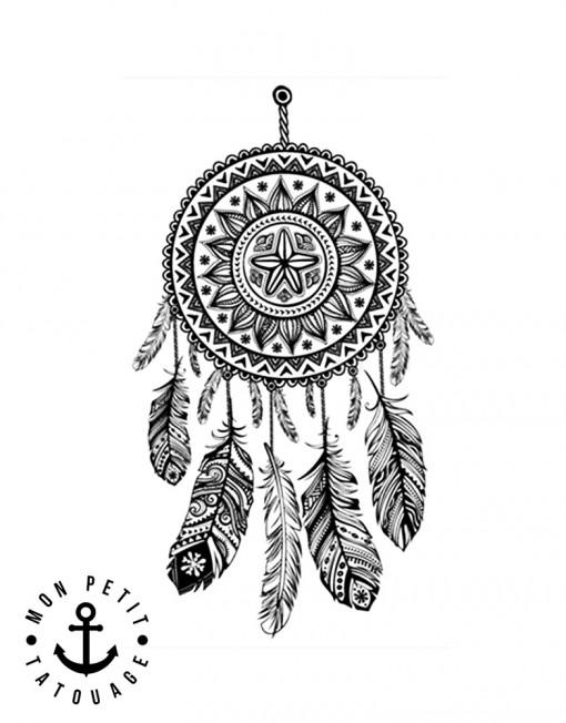 tatouage attrape r ves dreamcatcher 1 motif mon petit tatouage temporaire. Black Bedroom Furniture Sets. Home Design Ideas