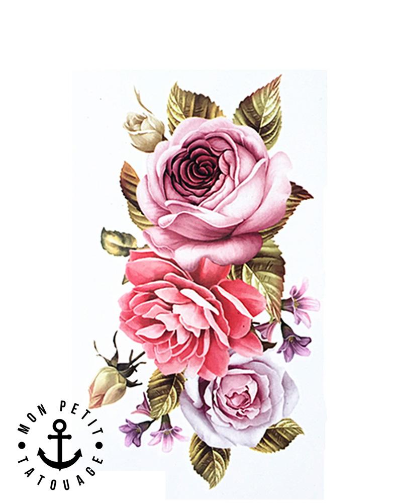 Tatouage Rose Temporaire Ephemere Composition Florale Roses Mon