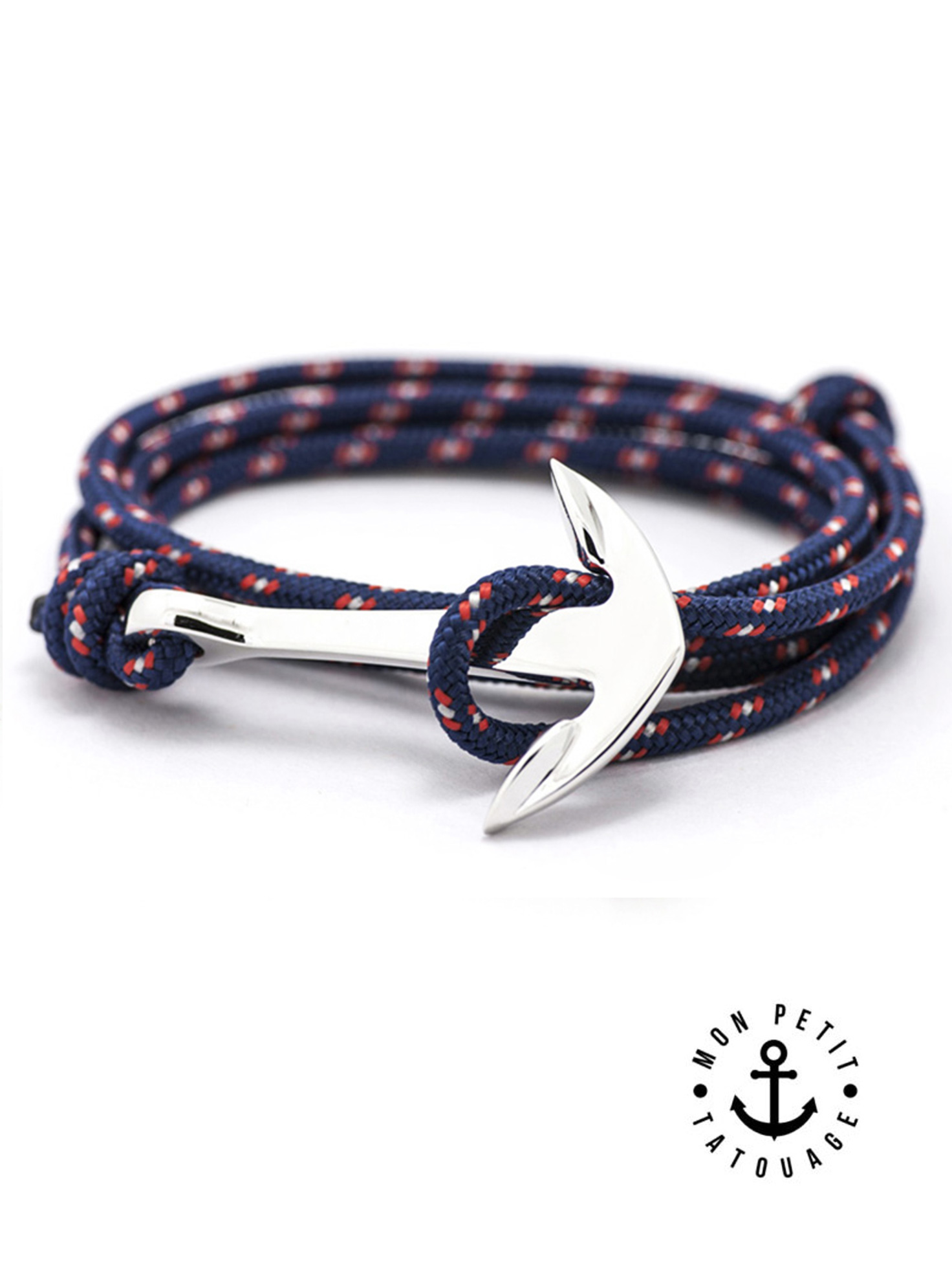 bracelet bleu ancre marine argent premium r glable mon petit tatouage temporaire. Black Bedroom Furniture Sets. Home Design Ideas