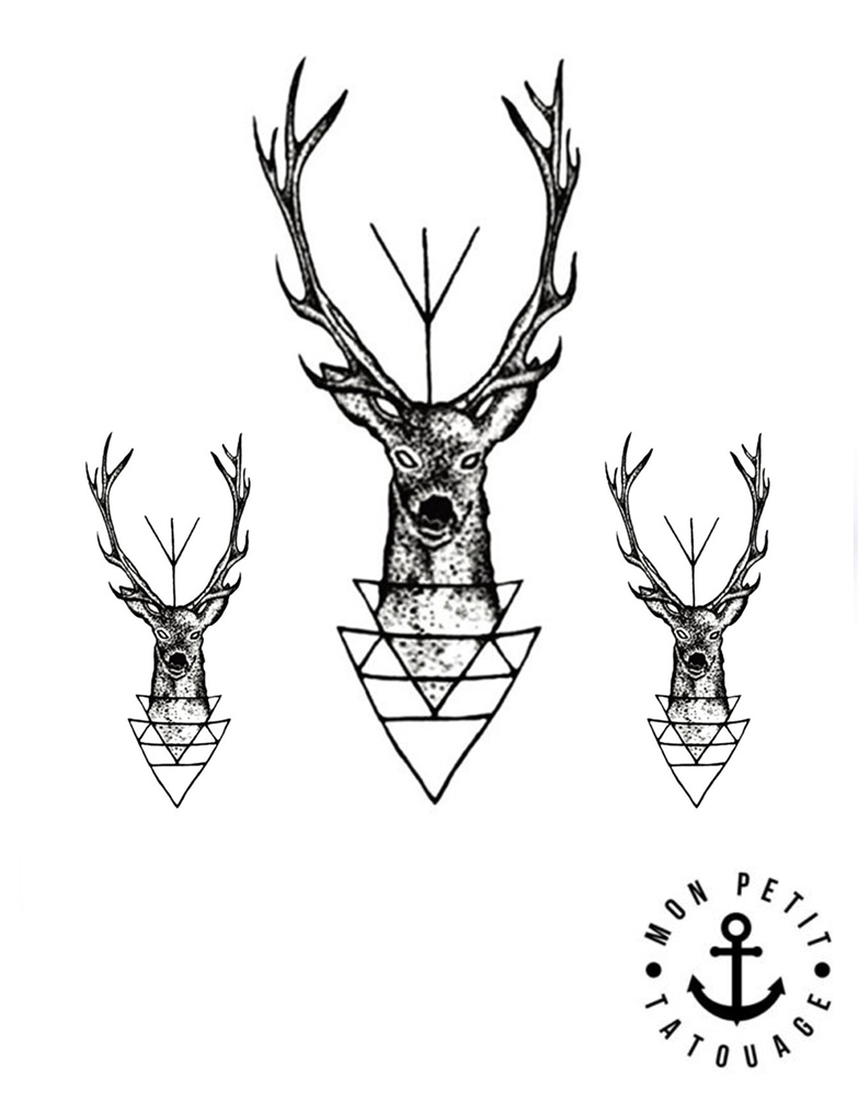 Tatouage temporaire cerf et bois de cerf jagermeister mon petit tatouage temporaire - Dessin tete de cerf ...