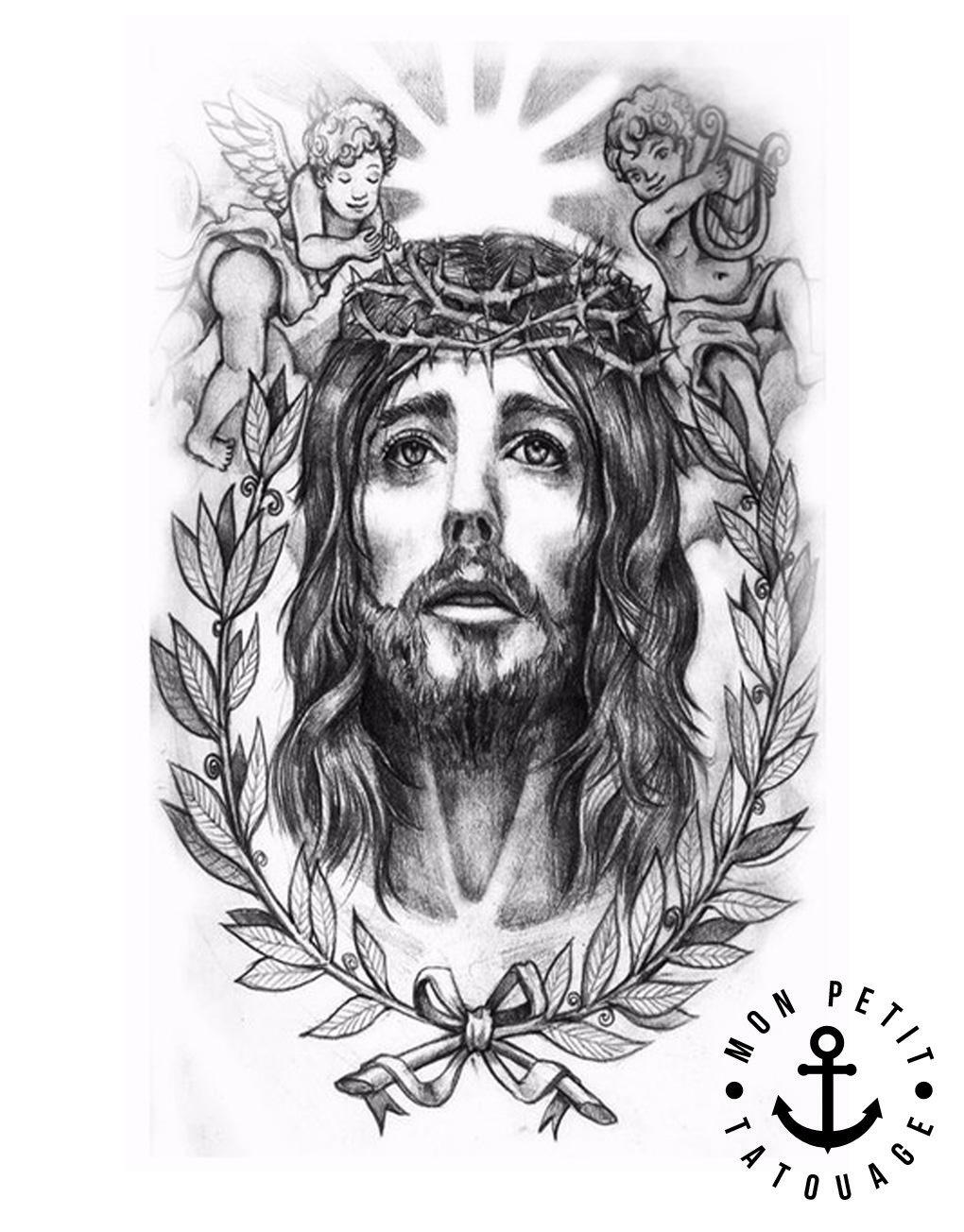 Tatouage Jesus Realiste Anges Couronne De Lauriers Noir Blanc