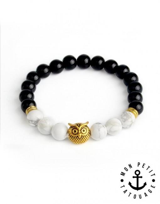 bracelet chouette hibou homme femme pierres naturelle. Black Bedroom Furniture Sets. Home Design Ideas