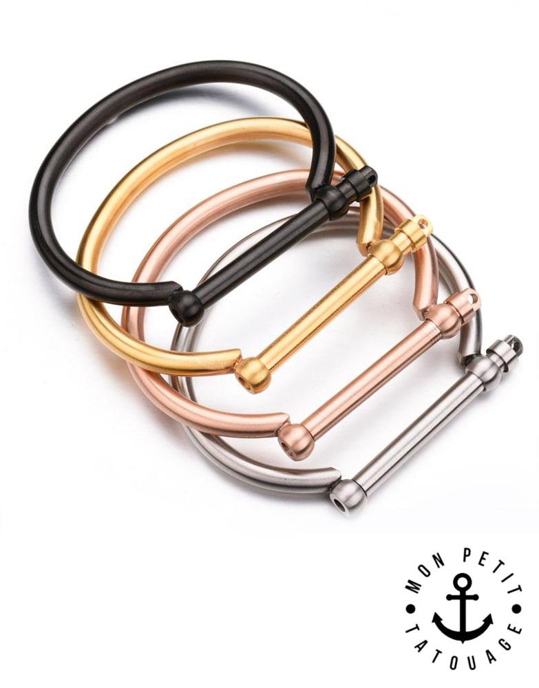 Bracelet Jonc à Visser Love Or Jaune, Or Rose, Argent - Femme   Mon ... e7cc08c8dd36