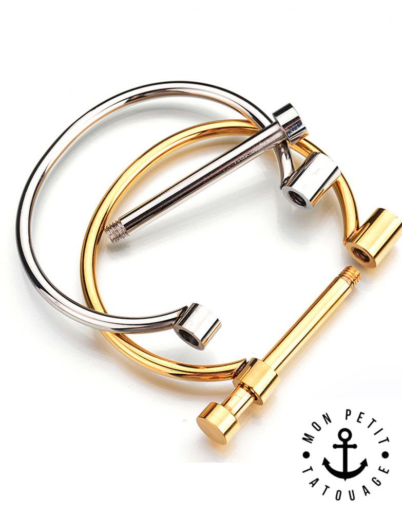 Bracelet Jonc à Visser Love Or Jaune, Argent - Femme   Mon Petit ... 02bfb6e32688