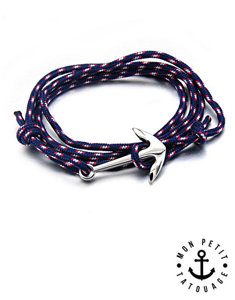 moins cher f3420 2d405 Bracelet Bleu Ancre marine Argent - Acier Inoxydable - Réglable