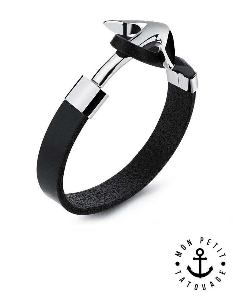 bracelet homme ancre marine argent cuir noir acier inoxydable mon petit tatouage temporaire. Black Bedroom Furniture Sets. Home Design Ideas