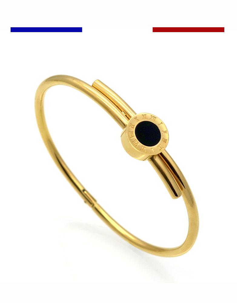 bracelet chiffres romains jonc love acier or jaune rose argent femme mon petit tatouage. Black Bedroom Furniture Sets. Home Design Ideas
