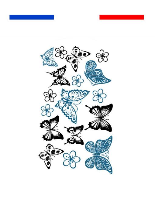 Tatouages papillons bleu noir petite plaquette mon petit tatouage temporaire - Tatouage rose bleu ...