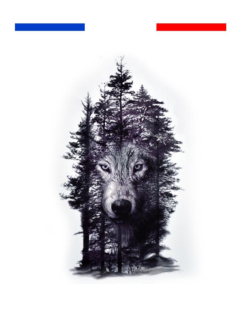 tatouage temporaire arbres loup noir mon petit tatouage. Black Bedroom Furniture Sets. Home Design Ideas