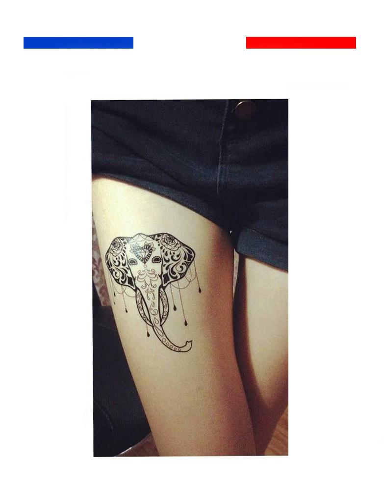 tatouage Éléphants style réaliste tribal | mon petit tatouage temporaire