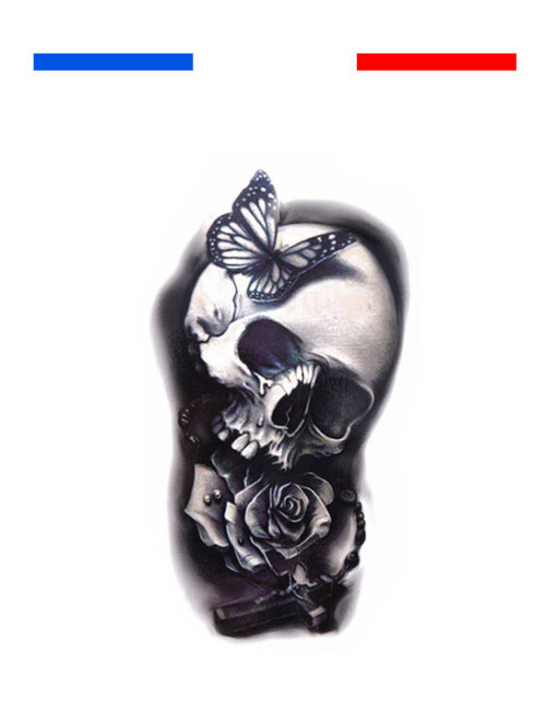 Tatouage Tête de Mort Rose Avant-Bras Temporaire