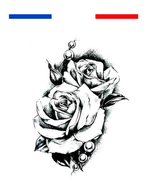 Tatouage Rose Noir et Blanc Homme Femme
