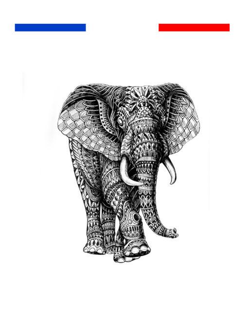 Tatouage Elephant mandala femme temporaire