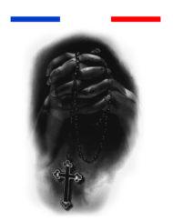 Tatouage mains prière chapelet réaliste temporaire