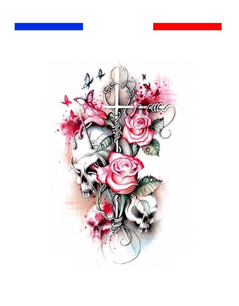tatouage t te de mort croix pastel roses mon petit. Black Bedroom Furniture Sets. Home Design Ideas