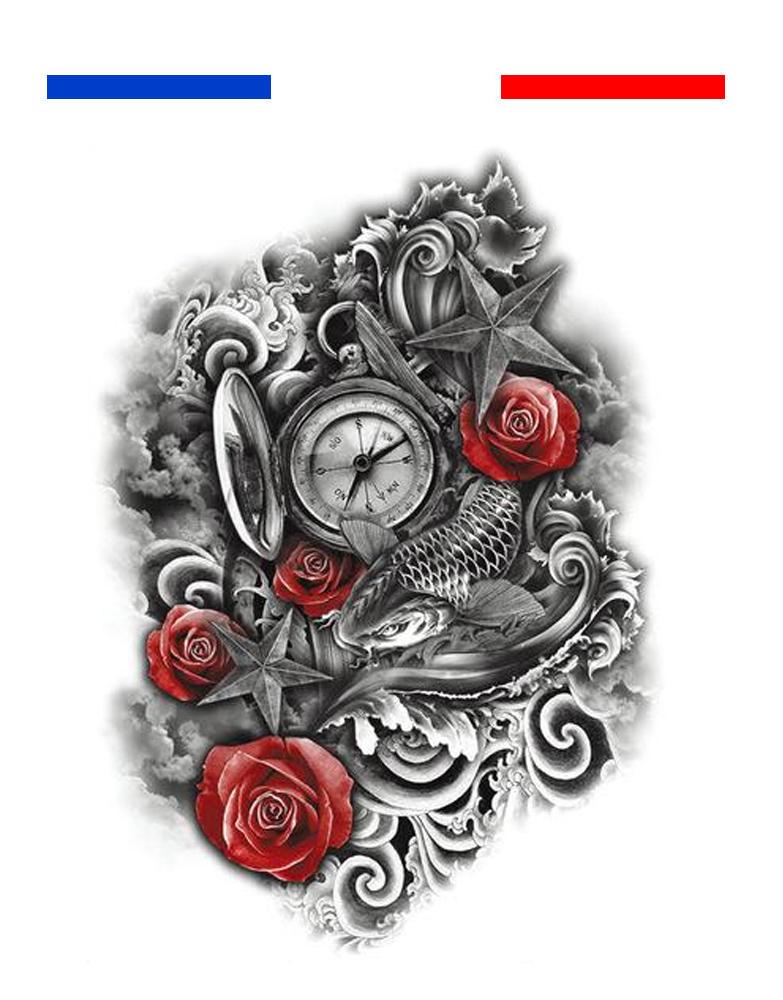 Tatouage Composition Boussole Carpe Koi Roses Mon Petit Tatouage
