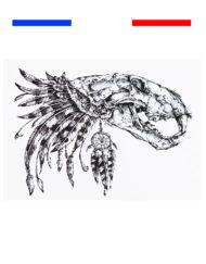 Tatouage Crâne Dinosaure Temporaire Os