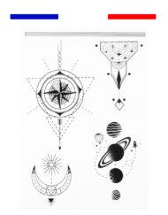 Tatouage Lunaire Espace et Planètes