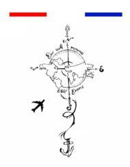 Tatouage Planisphère Avion Voyage Réaliste Temporaire