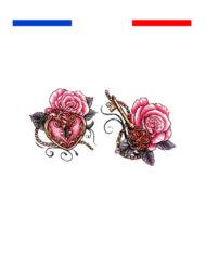 Tatouage rose cœur clé couleur Temporaire