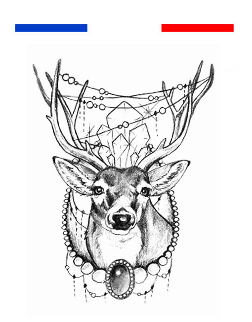 Tatouage cerf dessin femme mon petit tatouage temporaire - Dessin tete de cerf ...