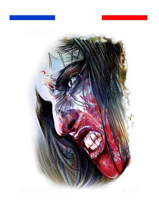 tatouage horreur sang gore temporaire