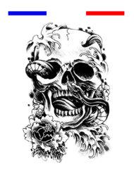 Tête de Mort Serpent Tatouage Temporaire