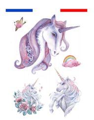 tatouage licorne arc en ciel gemme rose