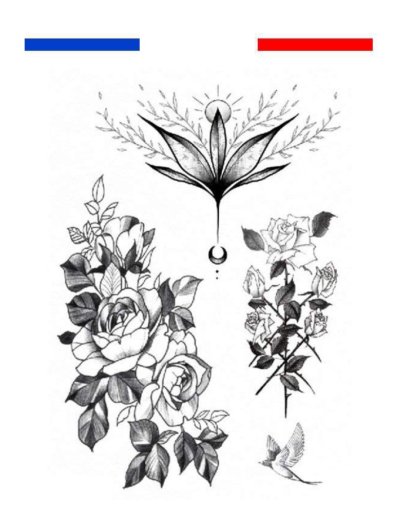 fleurs et roses tatouage temporaire mon petit tatouage. Black Bedroom Furniture Sets. Home Design Ideas