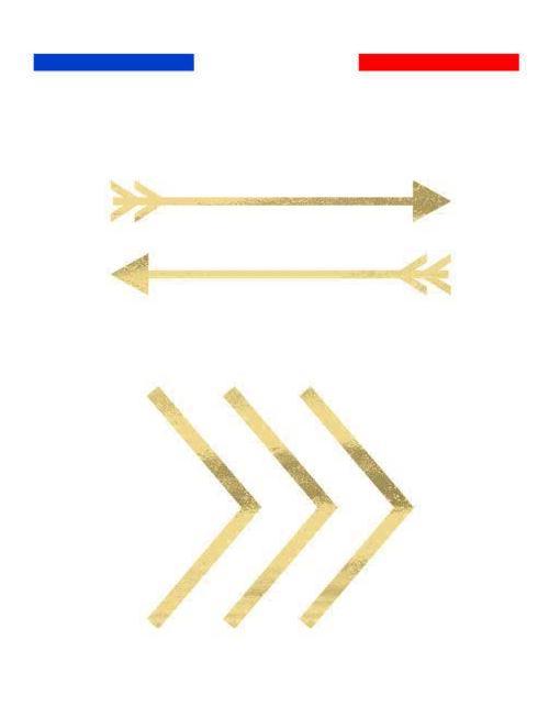 Flèches dorées tatouage temporaire métallique