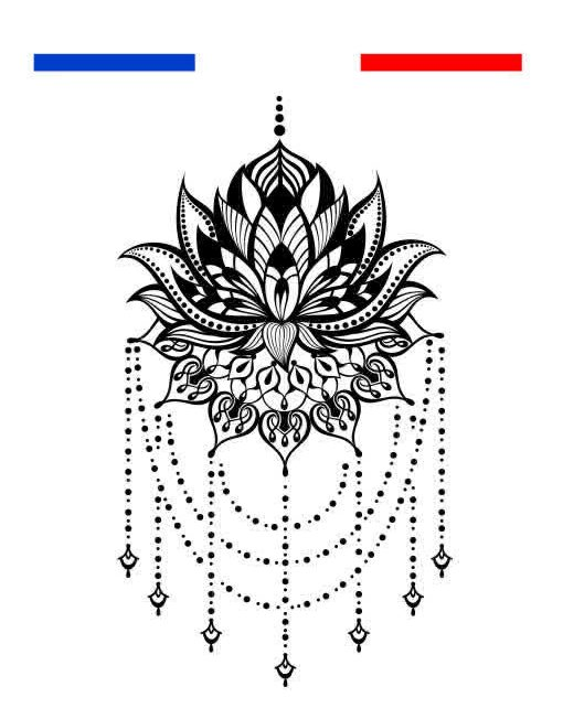 Fleur De Lotus Mandala Tatouage Temporaire Underboobs Mon Petit