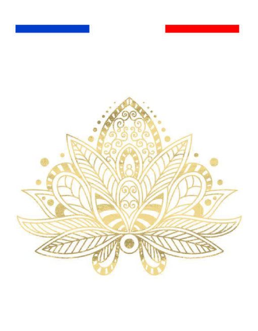 Fleur De Lotus Yoga Tatouage Temporaire Metallique Underboobs Mon