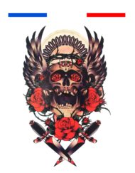 Tatouage Old School Crane Roses et Lames
