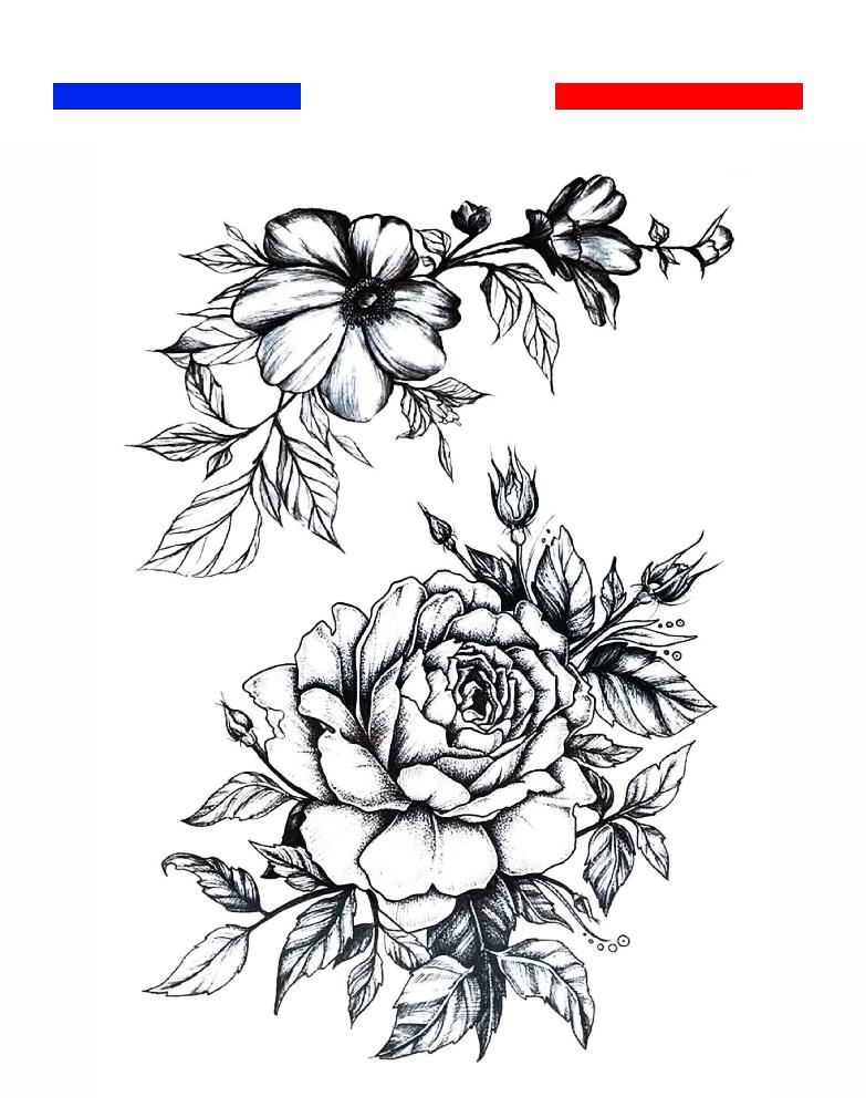 rose et fleurs tatouage temporaire mon petit tatouage. Black Bedroom Furniture Sets. Home Design Ideas