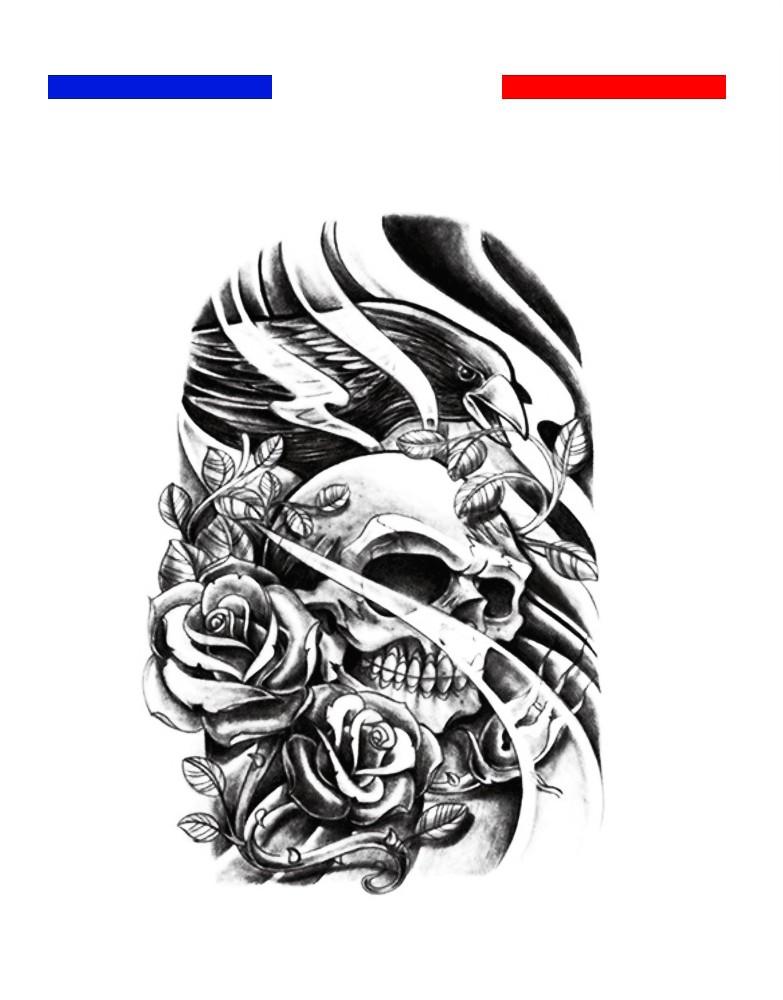 tatouage t te de mort aigle et roses mon petit tatouage. Black Bedroom Furniture Sets. Home Design Ideas