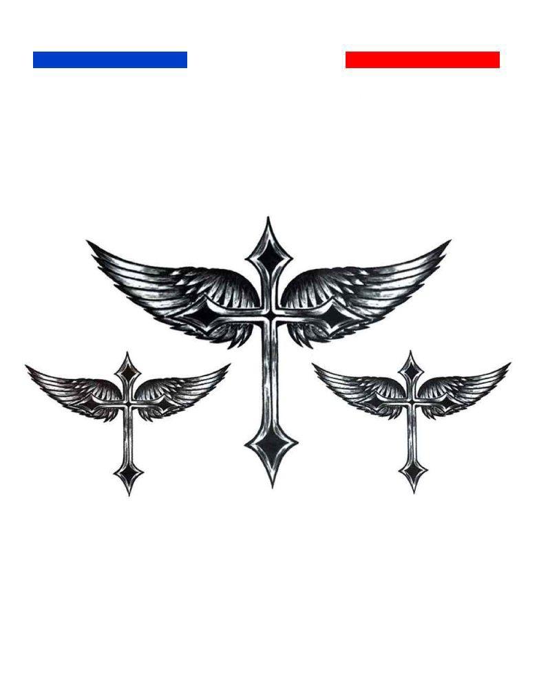Aile Ange Tatouage tatouage ailes d'ange et croix réaliste | mon petit tatouage temporaire