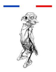 Tatouage Dobby personnage harry potter noir et blanc