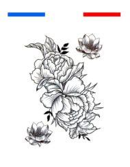 tatouage fleur lotus temporaire noir et blanc femme bras dos
